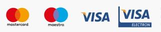 Elfogadott kártyatípusok: Visa, MasterCard, Visa Electron*, Maestro